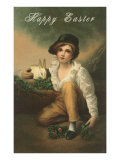 Happy Easter, Boy with Rabbit Posters