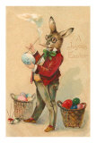 Joyous Easter, Spectacled Rabbit Painting Egg Prints