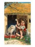 Easter Greetings, Boy and Lamb Print
