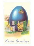 Easter Greetings, Blue Egg House Poster