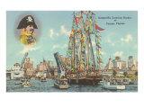Gasparilla fährt in Hafen ein, Tampa, Florida Poster