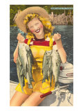 Lady with Bass, Florida Posters