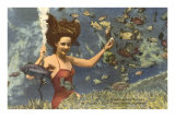 Diving Girl, Weekiwachee Spring, Florida Poster