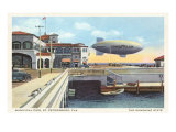 Blimp over Pier, St. Petersburg, Florida Poster