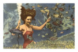 Diving Girl, Weekiwachee Spring, Florida Posters