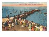 Aracachon, Pier and Beach, France Giclée-Premiumdruck