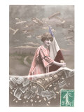 Woman with French Flag, Old Planes Print