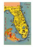 Map Florida Art Print
