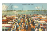 Fishing Docks, Miami, Florida Print
