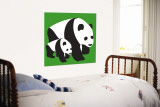 Green Panda Wall Mural