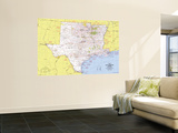 South Central States Map 1974 Wall Mural