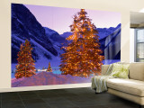 Lighted Christmas Trees, Chateau Lake Louise, Lake Louise, Alberta, Canada Wall Mural – Large
