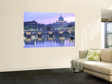 St. Peter's and Ponte Sant Angelo, The Vatican, Rome, Italy Wall Mural