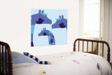 Blue Giraffes Wall Mural