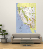 1974 Close-up USA, California and Nevada Map Wall Mural