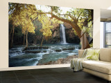 Scenic View of a Waterfall on Havasu Creek Gran mural por W.E. Garrett