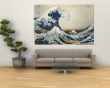 The Great Wave Off Kanagawa , c.1829 Muurposter van Katsushika Hokusai