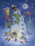 Snowman's Feathered Fun Print by Donna Race