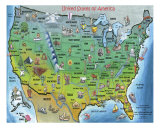 USA Cartoon Map Photographic Print by Kevin Middleton