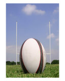 Rugby Ball And Posts Photographic Print by vincent abbey