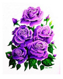Raindrops Series 2 Purple Roses Giclee Print by Lori White