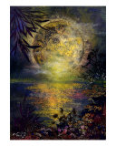 Full Moon Pressed Flower Art Giclee Print by Shelley Xie