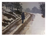 Woman On Frozen Road Giclee Print by Scott Mackay