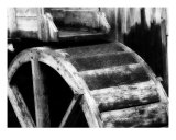 Cable Mill Water Wheel Black And White Photographic Print by Clyde Timbs