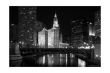 Black And White Of Chicago River Photographic Print by Patrick Warneka