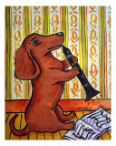 Dachshund Playing The Clarinet Giclee Print by Jay Schmetz