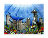 Seattle Underwater Giclee Print by Liza Phoenix