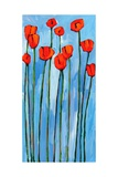 Poppies On Blue - 2 Of 3 Giclee Print by Patty Baker