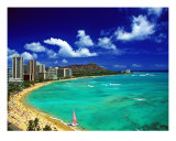 Waikiki Beach Diamond Head Photographic Print by Tomas del Amo