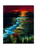 Red Sky Pointillism Landscape Photographic Print by Ruth Palmer