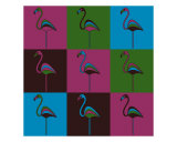 Carnival At The Zoo - 9 Flamingos Photographic Print by Asbjorn Lonvig