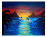 Dolphins Dancing In Sunset Giclee Print by Jenifer Weber