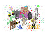 Jungle Animal Party Colorful Cartoon Childrens Art Photographic Print by Joshua Hullender