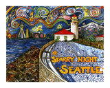 Alki Point Starry Night Giclee Print by Leone Ardo