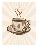 Stylized Coffee Cup Illustration, Retro Background Giclee Print by Stasys Eidiejus