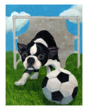 Boston Terrier Soccer Goalie On Guard Giclee Print by Louise Francke
