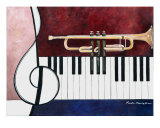 Musical Pieces, Trumpet Piano Giclee Print by Kristin Morris