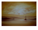 Boats At Sunset Giclee Print by Cherie Dirksen