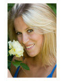 Beautiful Young Blonde Woman With Yellow Rose Photographic Print by David Smith