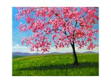 Lone Pink Blossom Tree Giclee Print by Patty Baker