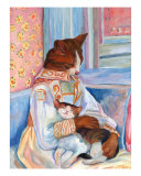 Mother Cat And Kitten A La Renoir Giclee Print by Louise Francke