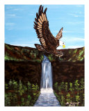 Flying Bald Eagle Giclee Print by Teo Alfonso
