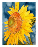 Macro Sunflower Watercolor Painting Print Giclee Print by Derek Mccrea