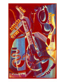 Red Musical Stillife Giclee Print by Lyudmila Lavrentyeva