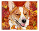 Fall Corgi Giclee Print by Karen Howell