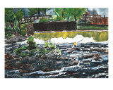 Fishing The River Waterfall Landscape Painting Giclee Print by Derek Mccrea